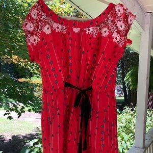 Flirty red dress - adorable heart pattern!